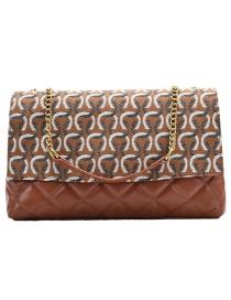 Fashion Brown Printed Chain Contrast Color Shoulder Messenger Bag