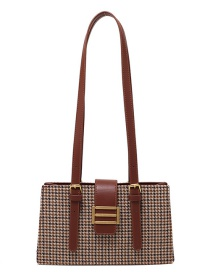 Fashion Brown Check Pattern Stitching Contrast Lock Shoulder Bag