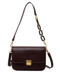Fashion Coffee Color Solid Color Crossbody Shoulder Bag With Lock Flap