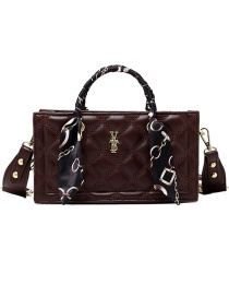 Fashion Coffee Color Letter Silk Scarf Wrapped With Embroidery Thread One-shoulder Messenger Bag