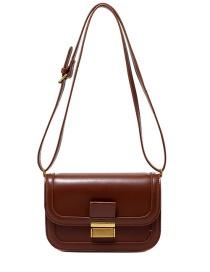 Fashion Brown Stitching Lock One Shoulder Messenger Bag