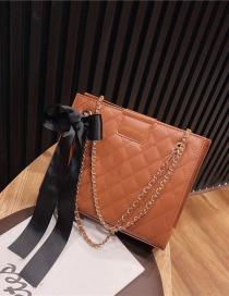 Fashion Light Brown Chain Link Bowknot Diamond Shoulder Crossbody Bag