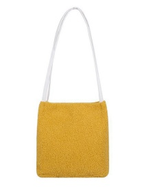 Fashion Yellow Plush Solid Color Shoulder Bag