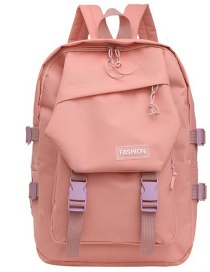 Fashion Pink Nylon Cloth Buckle Letter Logo Backpack