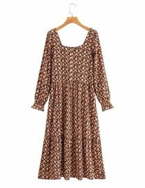 Fashion Printing Square Neck Printed Long Sleeve Loose Dress