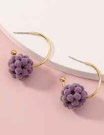 Fashion Purple Hairball Flower Geometric Alloy Earrings