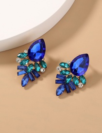Fashion Royal Blue Crystal Geometry Alloy Hollow Earrings