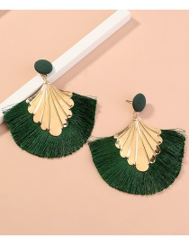 Fashion Green Tassel Geometric Alloy Earrings