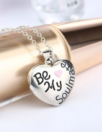 Fashion Silver Color Love Letter Alloy Drop Oil Necklace