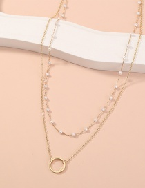 Fashion Gold Color Pearl Thin Chain Round Pendant Multilayer Necklace