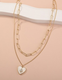 Fashion Gold Color Handmade Lattice Chain Natural Shell Heart Pendant Multilayer Necklace