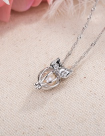 Fashion Silver Color Hollow Owl Natural Pearl Pendant Necklace