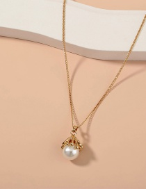 Fashion Gold Color Pearl Alloy Geometric Thin Chain Necklace