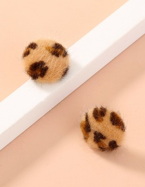 Fashion Leopard Leopard Geometric Round Plush Earrings
