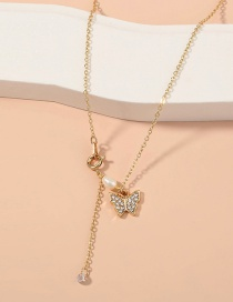 Fashion Gold Color Diamond Butterfly Pearl Alloy Necklace