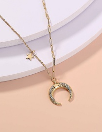 Fashion Gold Color Diamond Star Moon Stitching Lattice Necklace