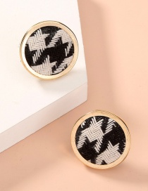 Fashion Gold Color Cloth Buckle Houndstooth Round Earrings