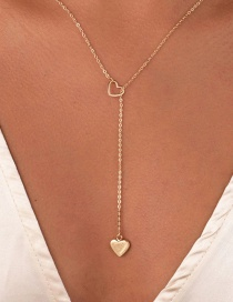 Fashion Gold Color Heart Pendant Hollow Alloy Necklace