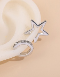 Fashion Silver Color Pentagram Irregular Contrast Color Hollow Ear Clip Set