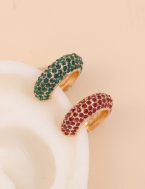 Fashion Dark Green + Red C-shaped Alloy Ear Clip Set With Full Diamonds