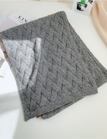 Fashion Gray Double-sided Knitted Woven Pattern Thick Scarf