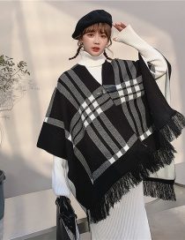Fashion Black And White Checked Fringe On Both Sides With Buckle Wool Knitted Scarf Shawl