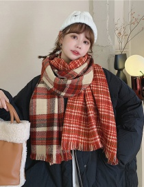Fashion Red Plaid Check Fringed Double-sided Cashmere Scarf