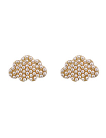 Fashion Pearl Alloy Pearl Diamond Cloud Stud Earrings