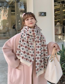 Fashion White Small Floral Thick Woolen Knitted Scarf