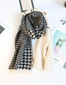 Fashion White Stitching Houndstooth Knitted Wool Warm Scarf