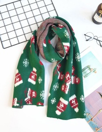 Fashion Green Gloves Christmas Gloves Knitted Woolen Thick Scarf