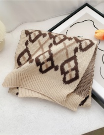 Fashion Caramel B Letter Stripe Thick Knitted Wool Imitation Cashmere Scarf