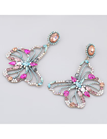 Fashion Rose Red Alloy Diamond Butterfly Hollow Earrings