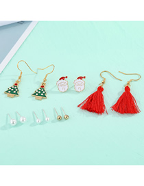 Fashion Tassel Ear Hook Set Santa Claus Bell Tree Gift Box Dripping Earring Set