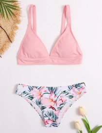 Fashion Printing Printed Contrast Color Split Swimsuit
