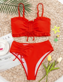 Fashion Red Pleated Solid Color Fungus Split Swimsuit