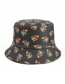 Fashion Black Halloween Funny Flame King Print Double-sided Fisherman Hat