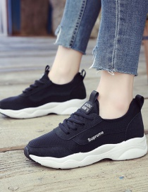 Fashion Black Round Toe Breathable Non-slip Shallow Mouth Lace-up Hollow Shoes