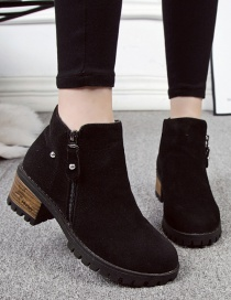 Fashion Black Frosted Round Toe Side Zipper Shallow Mouth Thick Heel Non-slip Martin Boots