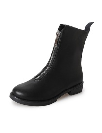 Fashion Black Plus Cotton Front Zip And Fleece Thick Mid-heel Martin Boots