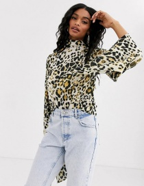 Fashion Color Leopard Print High Neck Bow Flared Sleeve Top