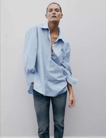 Fashion Blue Single-breasted Loose Shirt Top