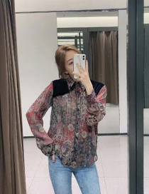 Fashion Color Mixing Goose Down Panel Translucent Shirt