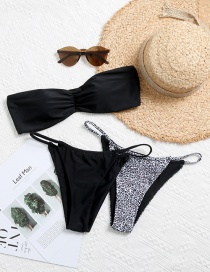 Fashion Black Solid Color Tube Top Printed Three-piece Split Swimsuit