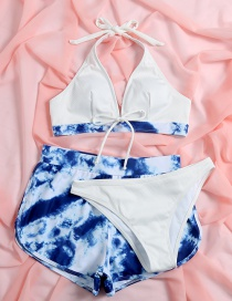 Fashion White Sumi Printing Lace-up Three-piece Swimsuit