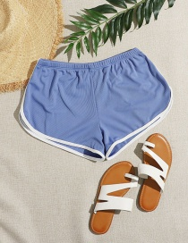 Fashion Blue Solid Color High-waisted Bottoms One-piece Swimsuit