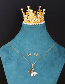 Fashion Suit Diamond Hollow Carved Butterfly Necklace And Earrings