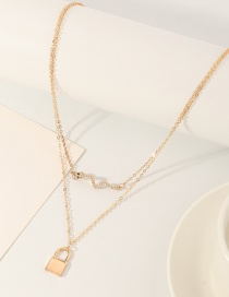 Fashion Golden Double Lock Serpentine Necklace With Diamonds