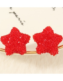 Fashion Red Resin Five-pointed Star Alloy Earrings