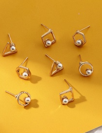 Fashion Suit Geometric Triangle Rhombus Pearl Earrings Set